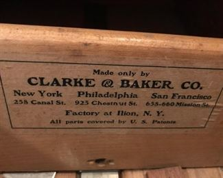 Clarke & Baker oak flat file and 3-drawer cabinet.