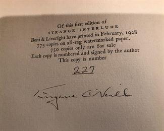 Eugene O'Neill signed copy of Strange Interlude