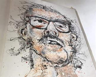 """Geoffrey Raymond depiction of Chuck Close entitled """"Close, But No Cigar"""" 5'x6', Acrylic on Canvas. For More Information on the Artist visit: http://raymondshow.blogspot.com"""