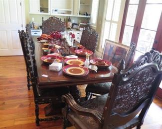 Harvest table, fabulous heavy chairs