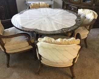 Lovely scallop edge table with stone top