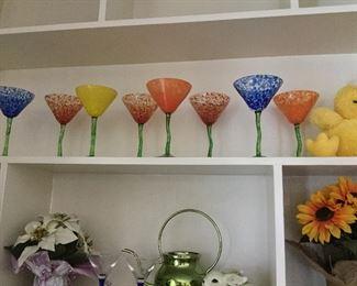 Handmade glass martini glasses