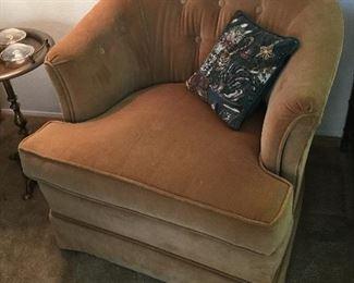 Velveteen swivel chair