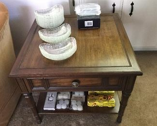 End table with drawer, lower shelf