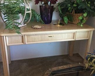 Nice desk or craft table, silk arrangements