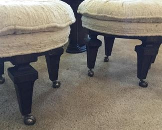 Detail of ottomans or seating legs roll easily