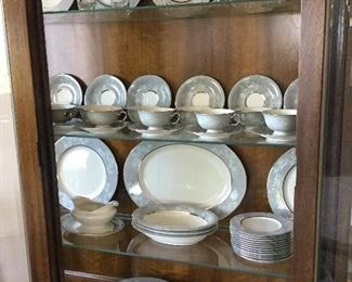 Large set dishes with soft grey color trim