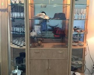 Three piece display cabinet China cabinet lighted, three separate cords so you can use each differently if desired
