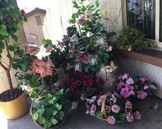 Silk flowers in pots in excellent condition