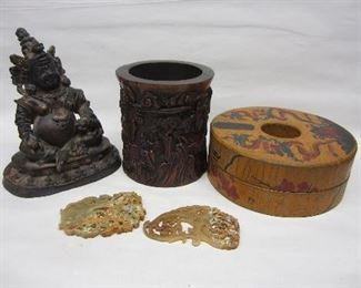 Chinese jades, Buddha figure, bamboo brush pot