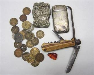 match safes, early pocket knife, old tokens