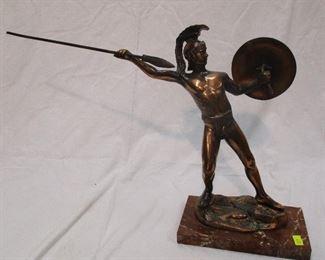 Bronze sculpture of Greek warrior