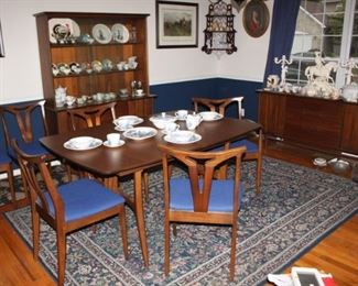 Mid Century Modern Dark Cherry Complete Dinnette Set.  Made in Kentucky.   Table, 3 leafs, Six Chairs, Hutch and Serving Credenza.