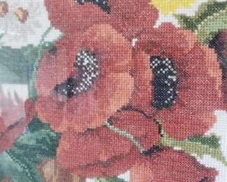 hand made poppies needlepoint -  framed
