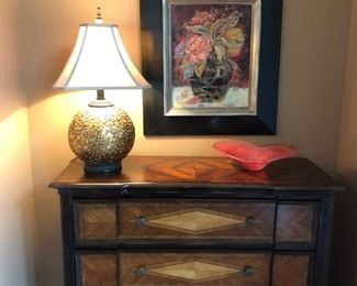 This is a fun little catch-all chest.  Great chubby lamp, print