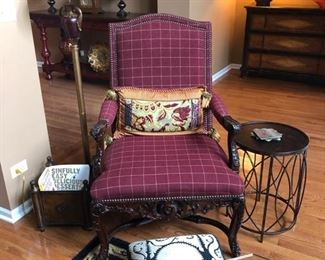Here''s the Drexel Heritage chair, footstool, floor lamp, magazine box and side table.  The chair looks better in person than this photo would have you believe.