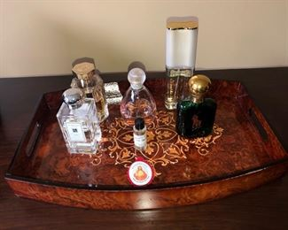 Table Tray with perfume bottles