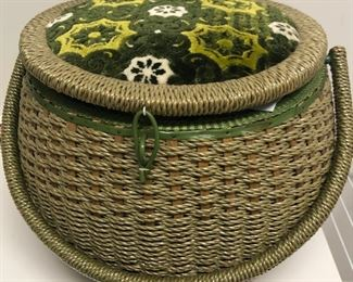 sewing basket filled with sewing notions