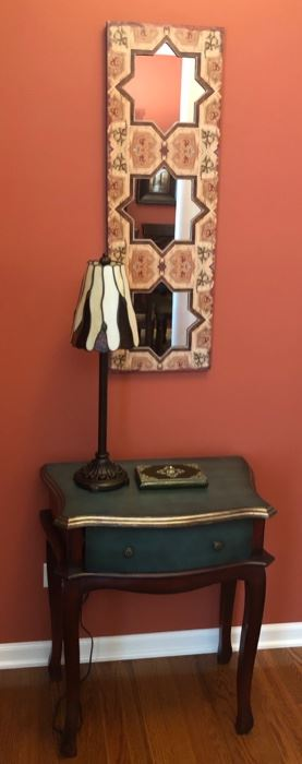 Small occasional table ,with a drawer, lamp and interesting mirror