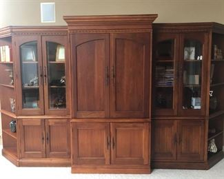 I know many folks are shying away from wall units like this - but reconsider putting this in an area you might need storage - like a basement rec room,  or a home office, a lake house, or even an office at your business.  This is exquisitely made and the price will be right.  It all separates so -any size you want to make it - take out the center, move the bookshelves together, the answers are endless.  We have a guy that can move this for you and he's reasonable.