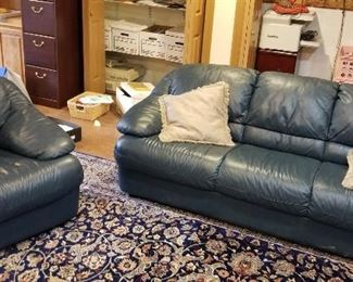 Blue leather sofa and armchair https://ctbids.com/#!/description/share/216008