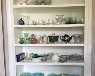 Vintage green pottery and glassware