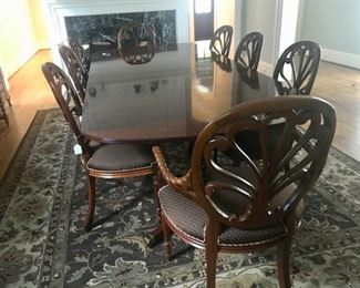 Large Hickory Dining Table with 4 Chairs
