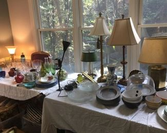 Over a dozen lamps of various ages and styles, Stem ware, Metal Ware, Vases
