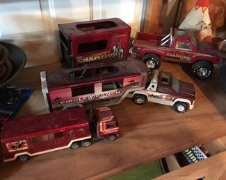 Vintage child's truck and trailer sets