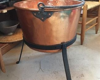 Copper Applebutter Kettle with Cauldron