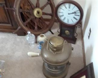 Ship's wheel, lantern, and more ship items