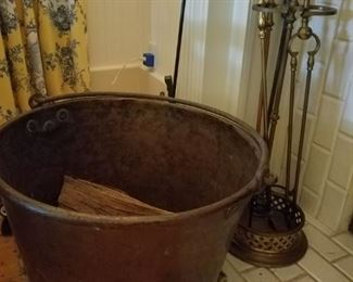 Huge copper pot, fireplace tools