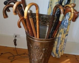 Cane collection . Fabulous brass  container