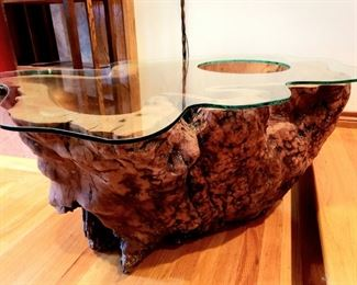 solid burl root magazine table
