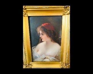 Antique Multi-level signed porcelain Portrait with Antique Gold Leaf frame..More details to follow....