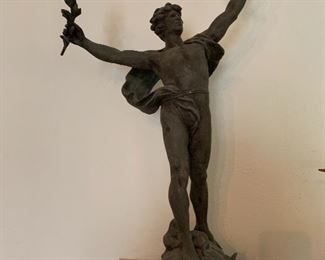 """Louis Auguste Moreau (1855-1919) Signed Spelter Sculpture- IMPRESSIVE-larage 1900 France- """"Le triomphe"""""""