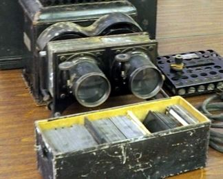 Bausch And Lomb Optical Co, Antique Electric Slide Projector Including Antique Masonic Glass Slides And Metal Carrying Case