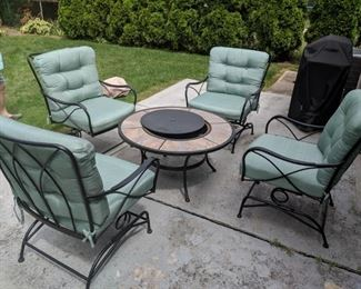 $100  Four patio chairs with cushions   $50  firepit