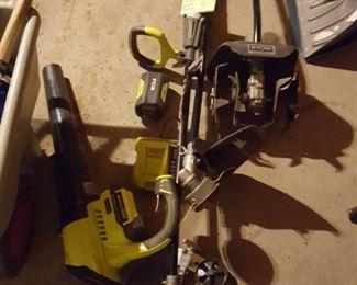 Ryobi Yard Tools. 4pc set. Blower, Edger, Weed Whip, and Rototiller.