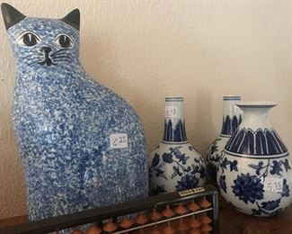 Cat, Blue and White Decoratives