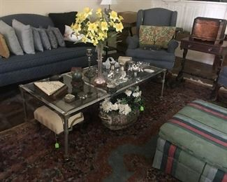 Antique Side Table, Mid-Century Chrome Coffee Table