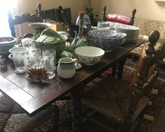 Antique Drop Leaf Table, Rush Chairs