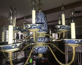 Antique Blue and White Chandelier