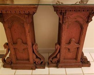 Pair of Wooden Oak Pedestals