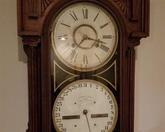 Waterbury Double Dial Calendar  number 43 Parlor Shelf Clock has Key