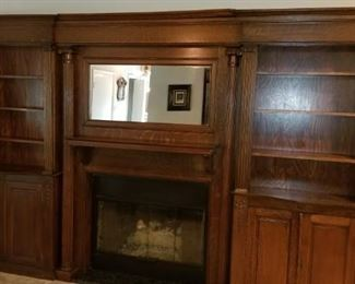 Bookcases and Fireplace Mantle