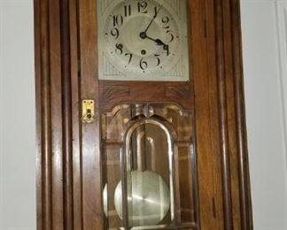 Wall Clock beveled Leaded Glass Metal face.