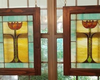 Pair of Stained Antique Glass Windows