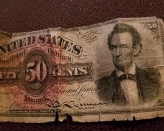 Lincoln Fractional currency in poor condition March 1863