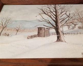 Art winter scene by Brenda Harrison